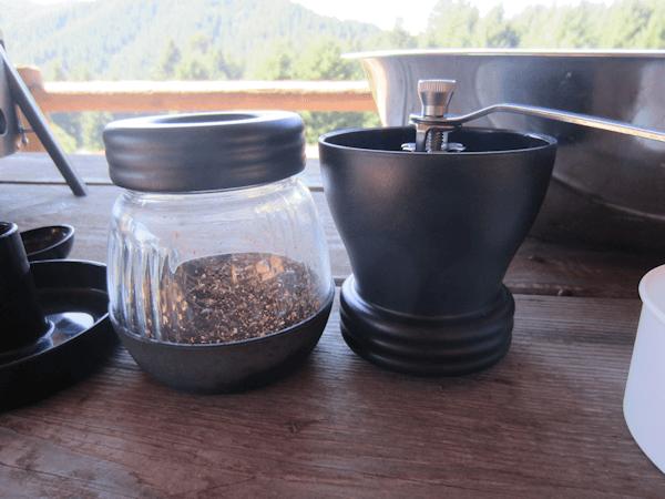 hand grinding coffee